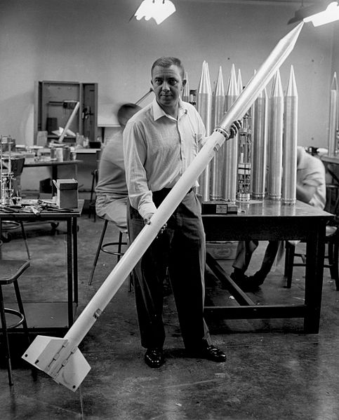 James Van Allen with a with a rocket and scientific instrument package (Rockoon).