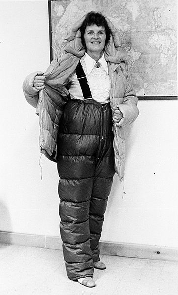 Ursula Marvin displaying her Antarctic gear