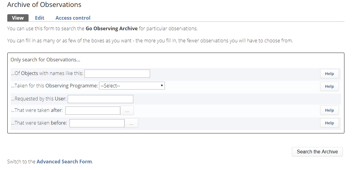 Go Observing Archive Form