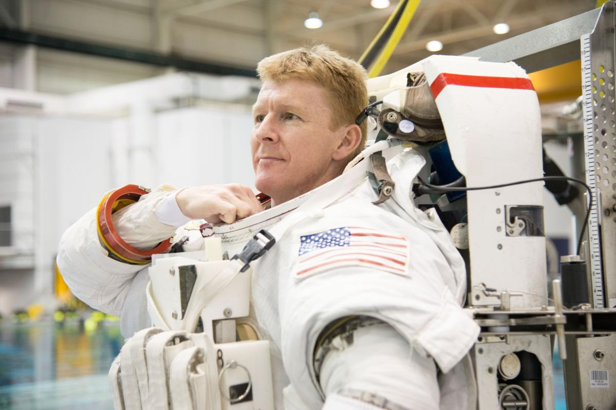Major Tim Peake during spacewalk training back on Earth