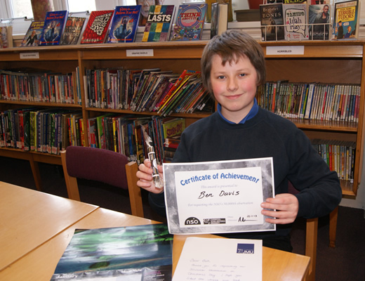 Ben with his certificate