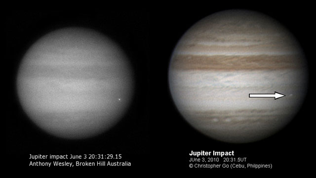 Images of asteroid impact on Jupiter