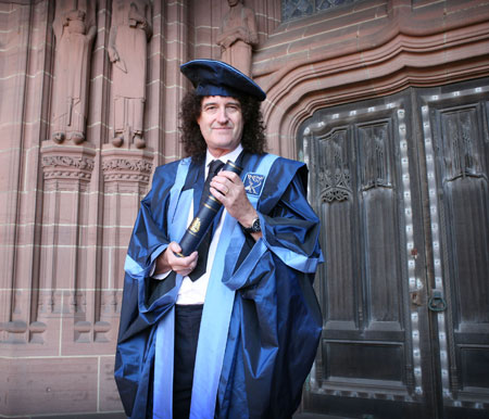 Picture of <b>Dr Brian May</b>, the new Chancellor of LJMU.