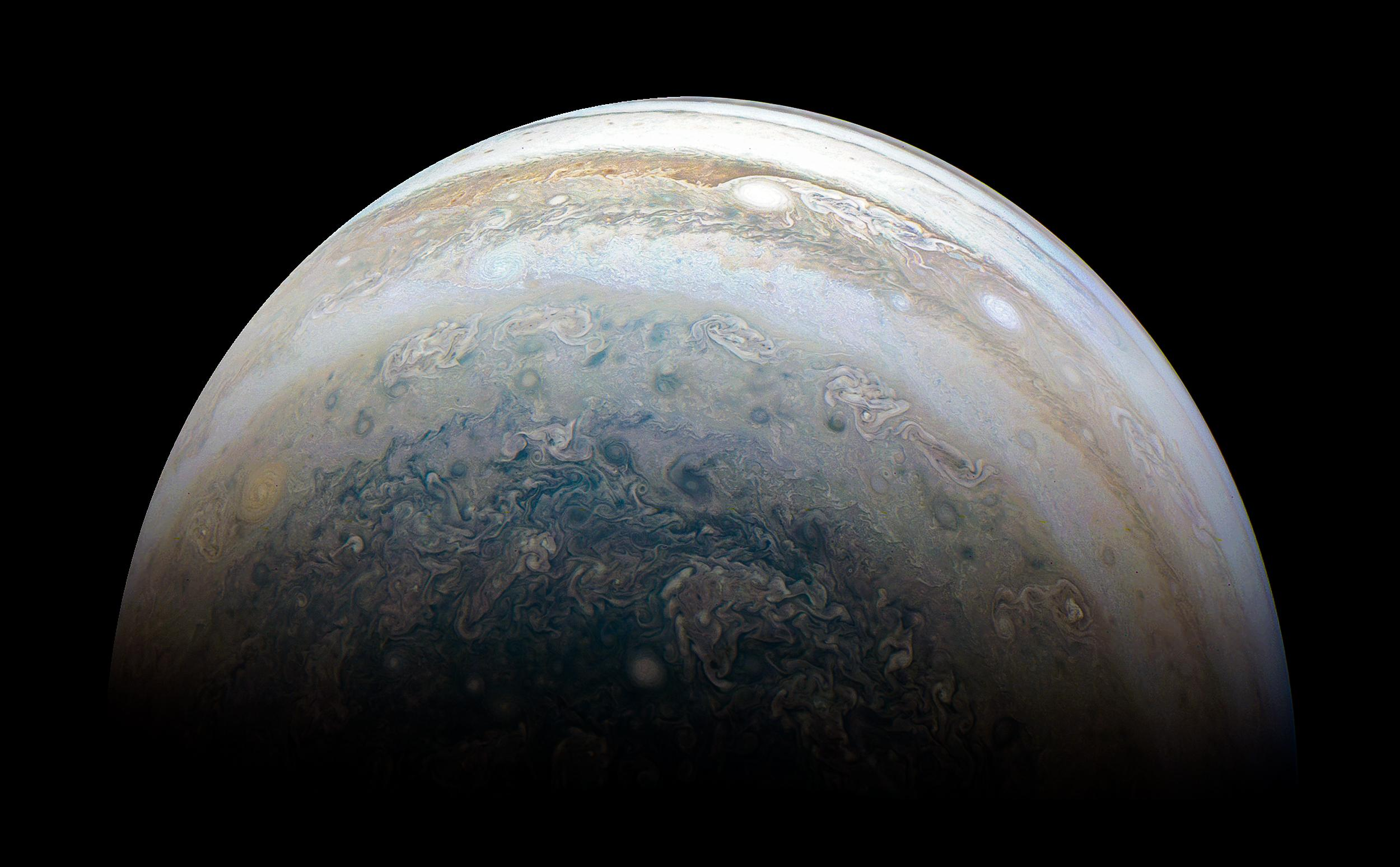 Image of Jupiter's surface taken by the Juno spacecraft.