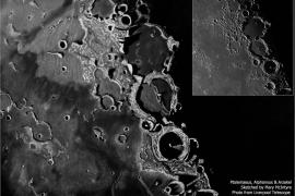 Lunar surface with craters Ptolomaeus (top), Alphonsus (middle) and Arzakel (bottom).