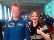 Cardboard cutout of Tim Peake.
